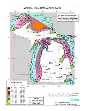 Michigan - 90 Meter Offshore Wind Speed